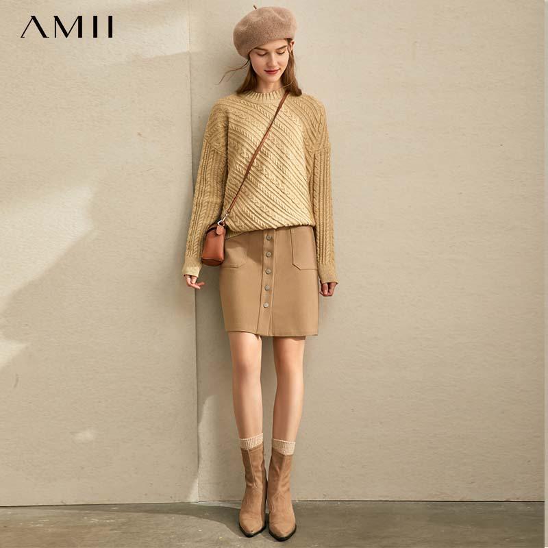 Amii Retro High Waist Skirt Autumn Winter Women's Loose Button Solid  A-line Skirt 11920275