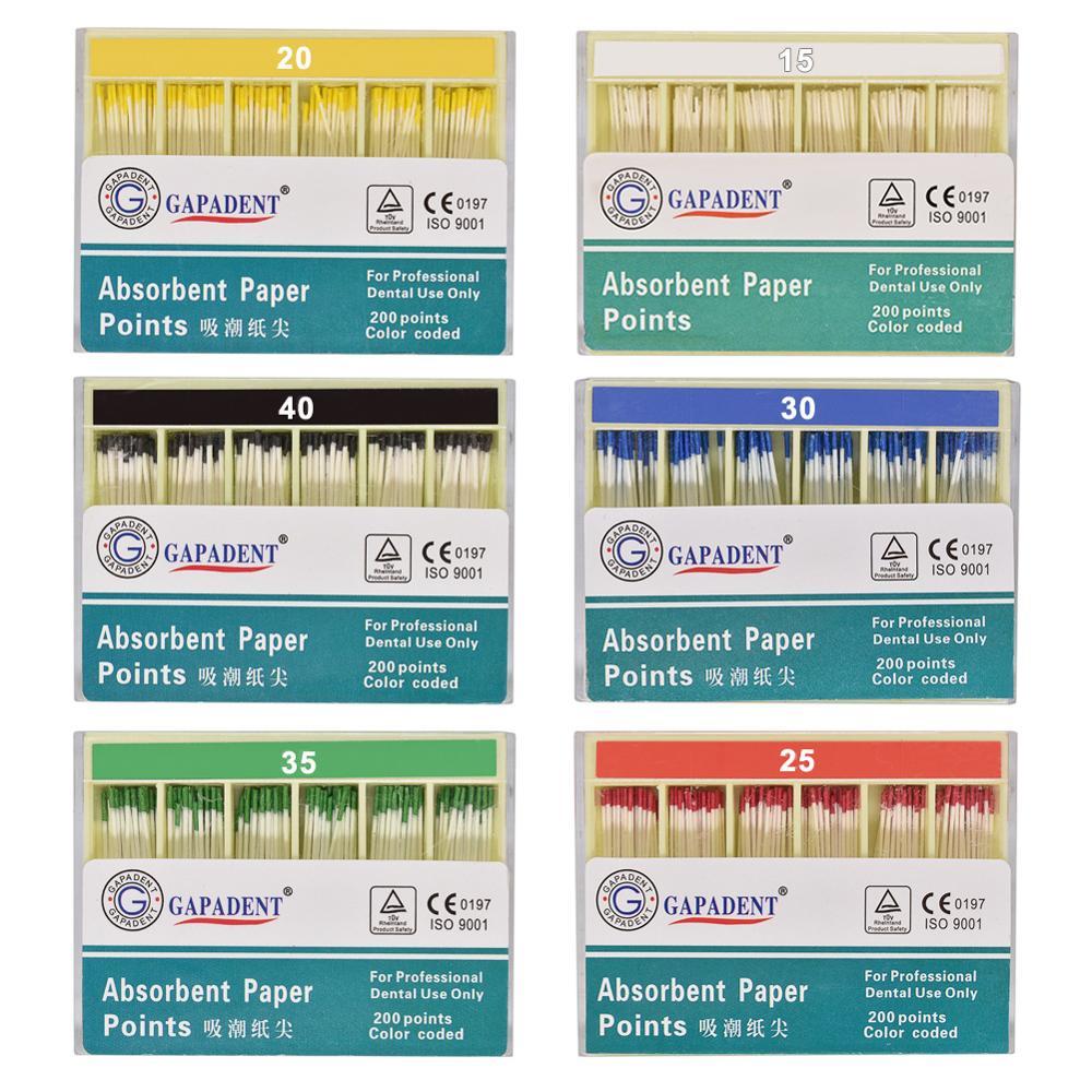 200pcs/Box Dental Absorbent Paper Points Root Cancel Endodontics Cotton Fiber Tips Dentist Product Superior Quality #15-#40