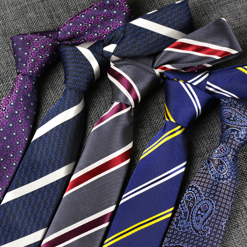 YISHLINE Man 6CM Skinny Tie For Men Narrow Necktie Floral Stripes Ties Slim Blue Purple Arrow Wedding Ties Accessories