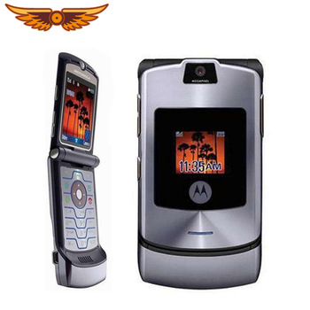 V3i 100% Original Motorola Razr V3i Quad Band Flip GSM Bluetooth MP3 Unlocked Old Used Mobile Phone 1
