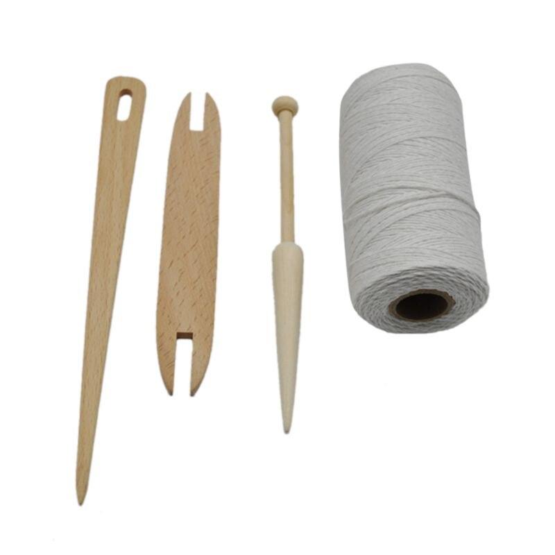 4pcs/set Wooden Shuttle Stick Rod Needle Knitting Weaving Loom Warp Thread Yarn Accessory DIY Crafts E56C
