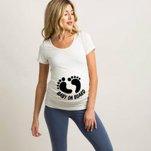 Tee Board Pregnant-Clothes Maternity-T-Shirt Summer Tops Funny Baby Women on Letters