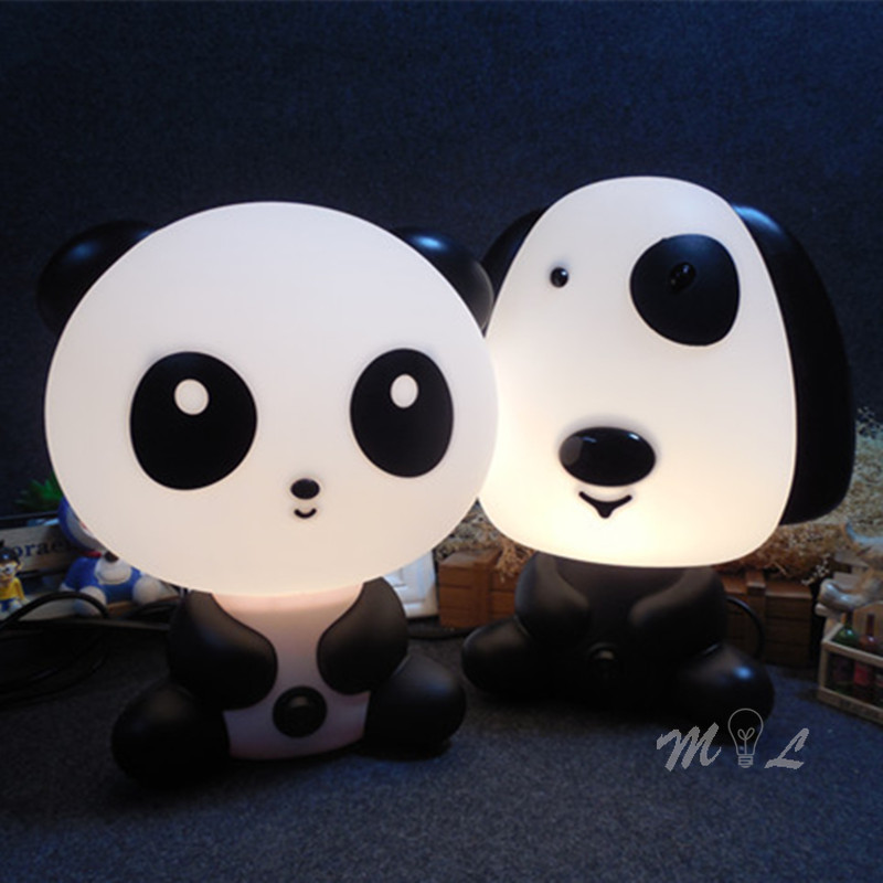 Modern Night Lamp Decoration Panda/Dog/Bear/Rabbit Cartoon Led Kids Nightlight Study Beside Lamp Children Gift Living Room Light