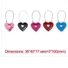 1 Pcs 4 colors Heart Password Lock Exquisite Wire Rope Resettable Combination Three Bit Digital Padlock Travel Bag Security