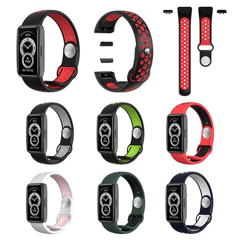 Силиконовый ремешок для часов Huawei Band 6, двухцветный дышащий смарт-ремешок для часов, сменный Браслет Для huawei band6, ремешок 6