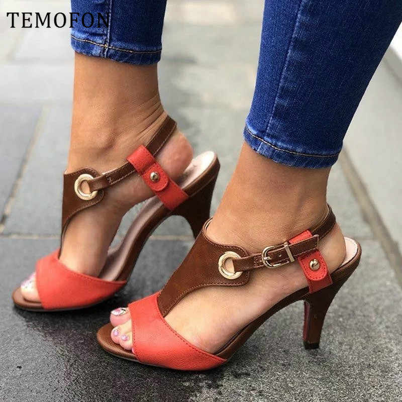 TEMOFON kadın yaz topuklu 2020 kare topuk bayanlar sandalet peep toe yüksek topuk ayakkabı roma kadın tıknaz sandalet büyük boy HVT1108