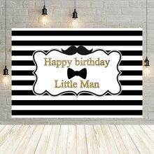 Avezano fondale per feste di compleanno in bianco e nero per fotografia Little Man Boy bambini ritratto Decor Banner Photo Background