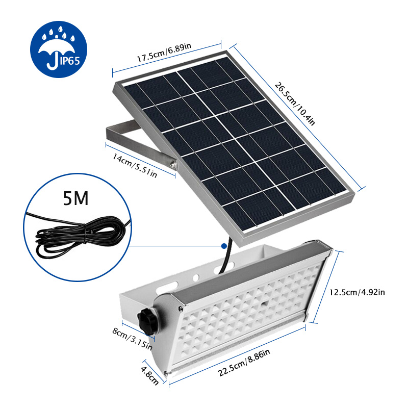 65 Leds Solar Light Super Bright 1500lm 12W Spotlight Wireless Outdoor Waterproof Garden Solar Powered Lamp With Rremote Control