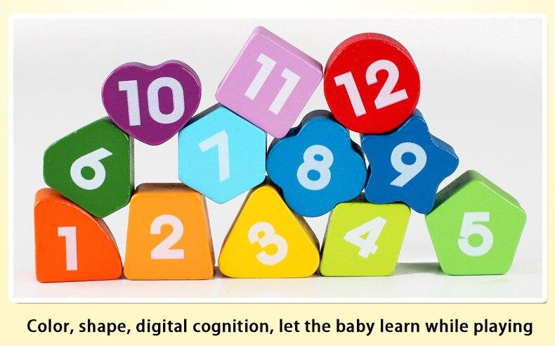 Cor de madeira relógio digital brinquedo educacional