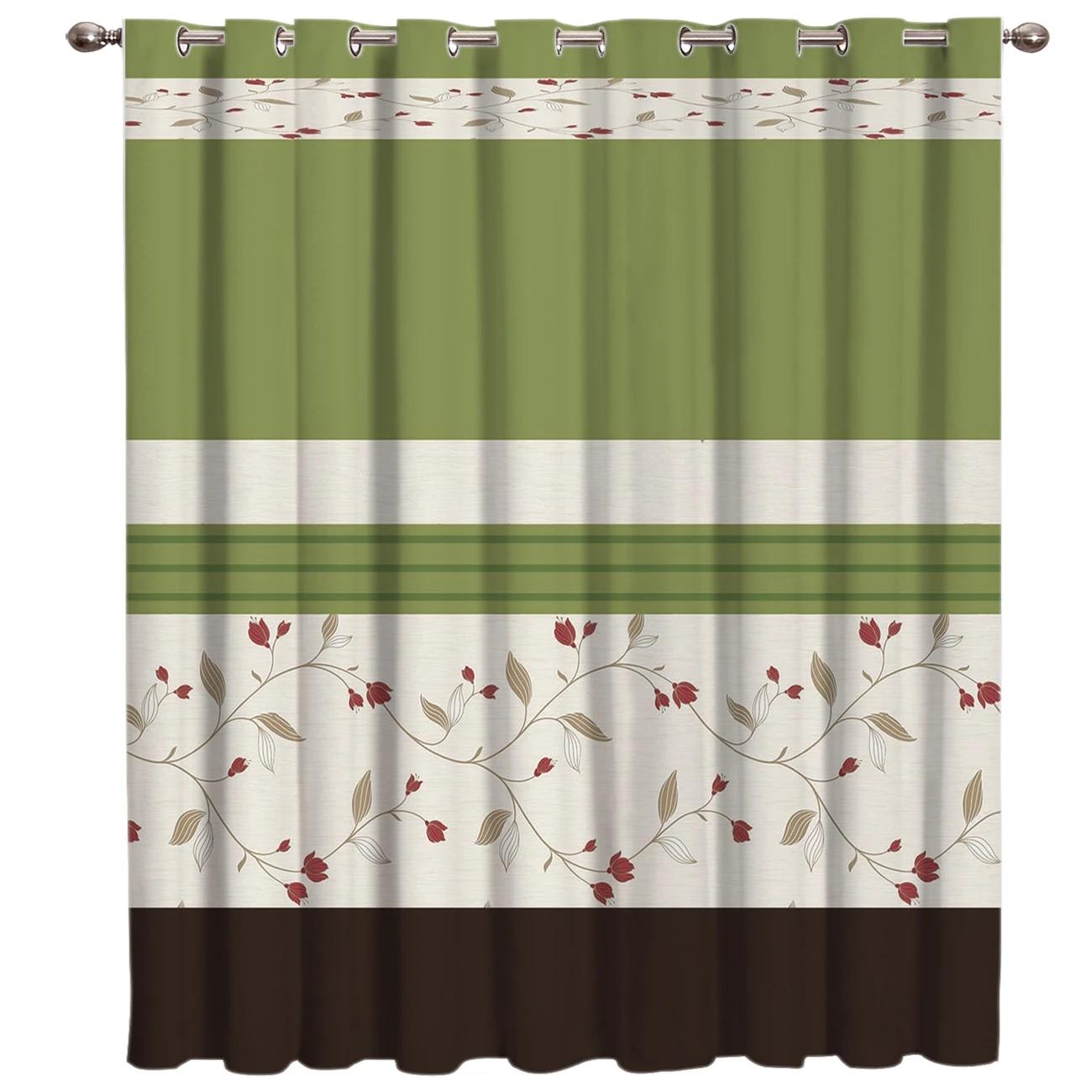 vintage flower green window curtains dark curtains bedroom indoor decor kids curtain panels with grommets window treatment ideas
