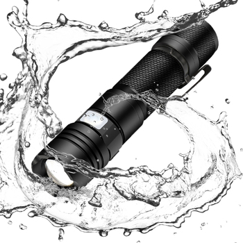 glare flashlight usb rechargeable Waterproof for outdoor camping  Zoomable 4 lighting modes Use 18650 battery