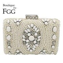 Boutique De FGG Vintage White Beaded Clutch Women Evening Bags Bridal Purses and Handbags Wedding Party Chain Shoulder Bag