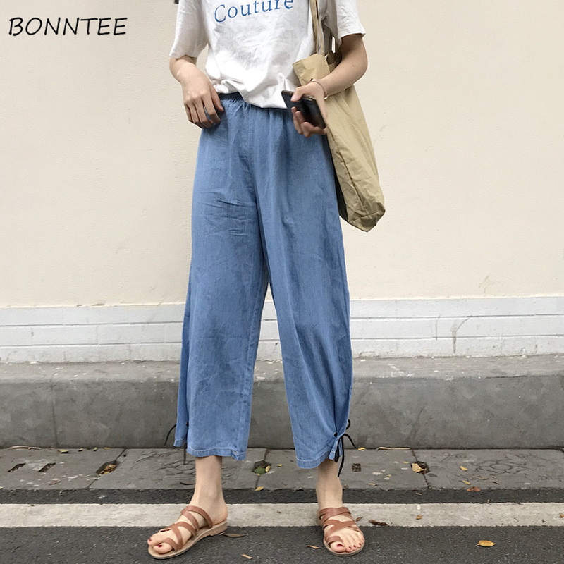 Pants Women Denim Wide Leg Pant Ladies Summer Korean Style Thin Womens Chic Loose Students Ankle-Length Casual Lacing Capris New