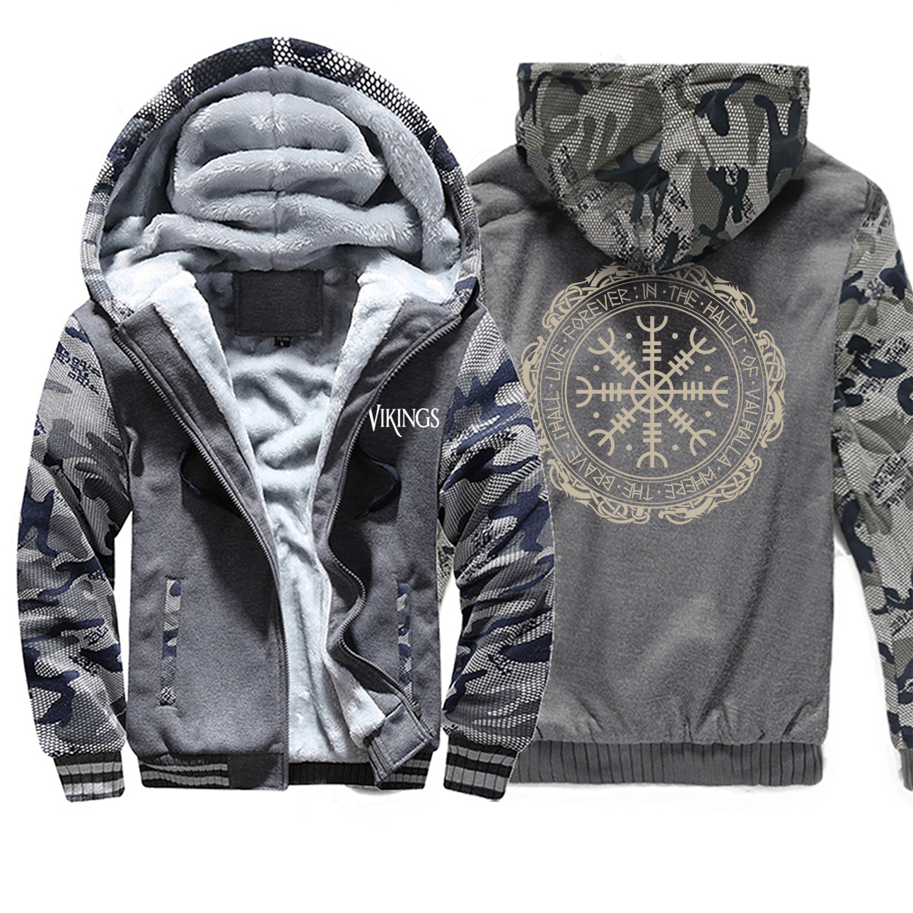 2019 Winter Thick Mens Hoodies Viking Printing Male Jacket Hip Hop Brand Outwear Hot Sale Camouflage Sleeve Men's Jacket Casual 2