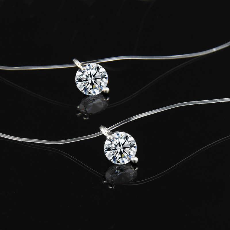 Baru 2019 Putri Duyung Berlian Imitasi Kalung Liontin Kristal Line Transparan Memancing Tak Terlihat Wanita Kalung Perhiasan Klavikula Rantai