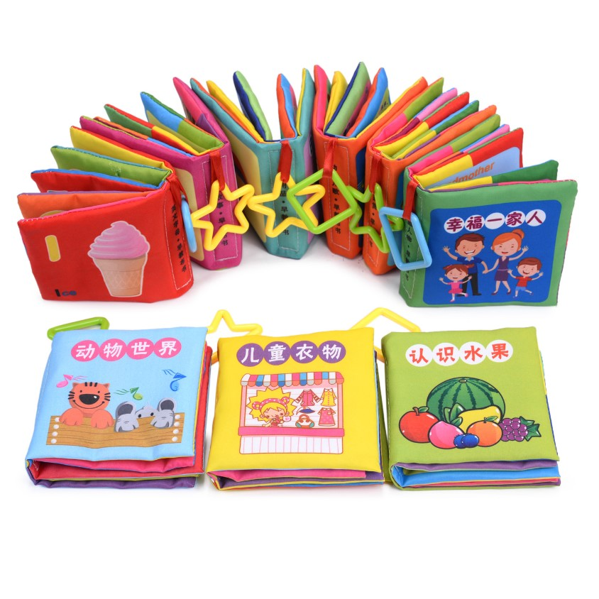 Soft Cloth Books Infant Baby Learn Chinese English Bilingual Cotton Intelligence Development Educational Toys Newborn Kids 0-12M