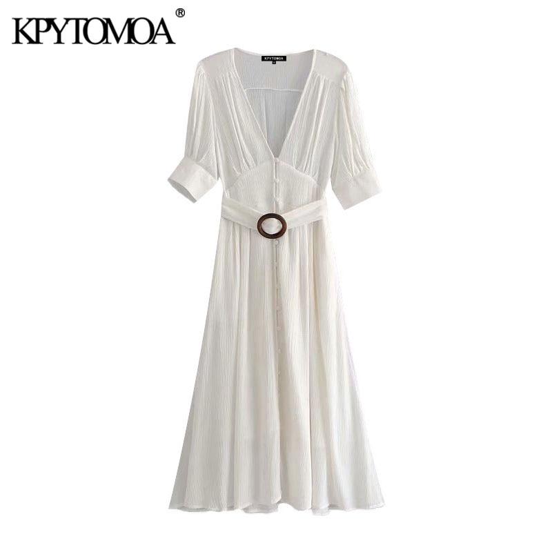 KPYTOMOA Women 2020 Elegant Fashion With Belt Pleated Midi Dress Vintage V Neck Short Sleeve Female Dresses Chic Vestidos Mujer