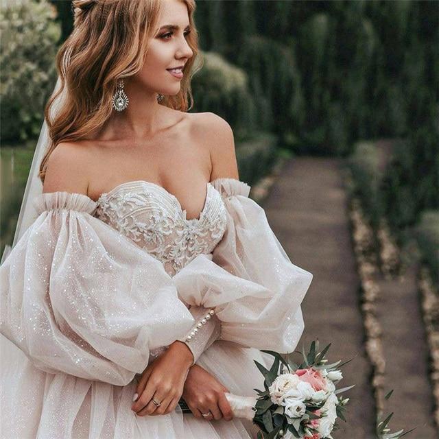 Dirty Pink Boho Wedding Dress 2021 Detachable Puff Sleeve Bridal Dresses Glitter Sparky Lace Wedding Gowns Beach Sweetheart 1