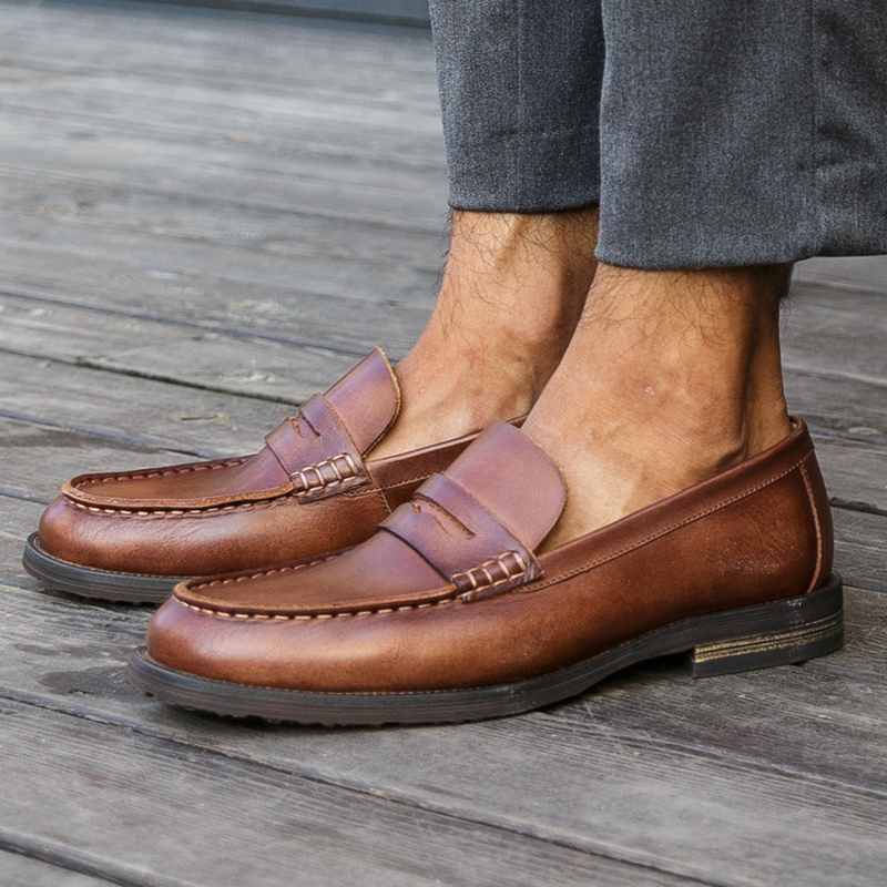 New Basic Round Toe Slip on Heels Man Casual Shoes Genuine Leather Handmade Formal Loafers Comfortable Men's Office Flats NHS107
