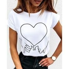 Women Summer Short Sleeve Hands Heart Print Lover Shirt Tops Loose Chic Best Friends Shirts Lady Vin