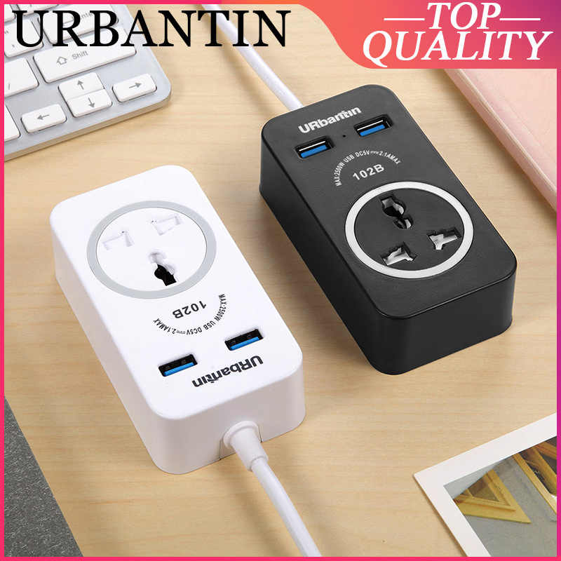 Urbantin Power Strip 1 AC US Plus Extension Socket Charger 2 USB Fast Charging For iPhone Samsung HUAWEI UK EU Electrical Socket