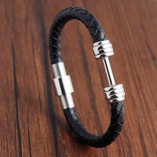 Barbell Trendy Woven Genuine Leather Bracelet Men Magnetic Clasp Chain Bracelets&Bangles For Male