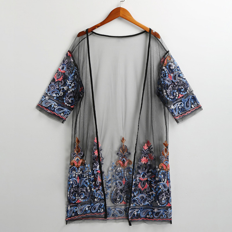 Sexy Women Kimono Cardigan Floral Embroidery Sheer Mesh Half Sleeve Summer Beach Vacation Outwear Vintage Ethnic Wear Female