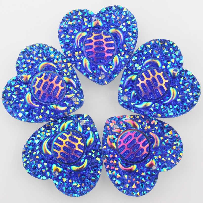 Kalp şekli kaplumbağa reçine taşlar Cabochon 20 adet/grup 25mm mor renk yerli Handmake tasarım Beadweaving Mixcolor takı tasarım