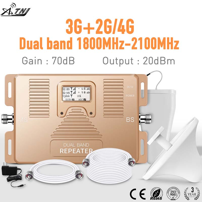 2G 3G 4G Dual Band 1800/2100MHz Cell Phone Amplifier 2g3g4g Repeater DCS UMTS Mobile Signal Booster Kit Suit For EU Assia Africa