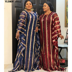 4 farben Afrikanische Kleider für Frauen Plus Größe Dashiki Voll Pailletten Afrikanische Kleidung Abaya Dubai Muslimischen Kleid Afrika Boubou Robe