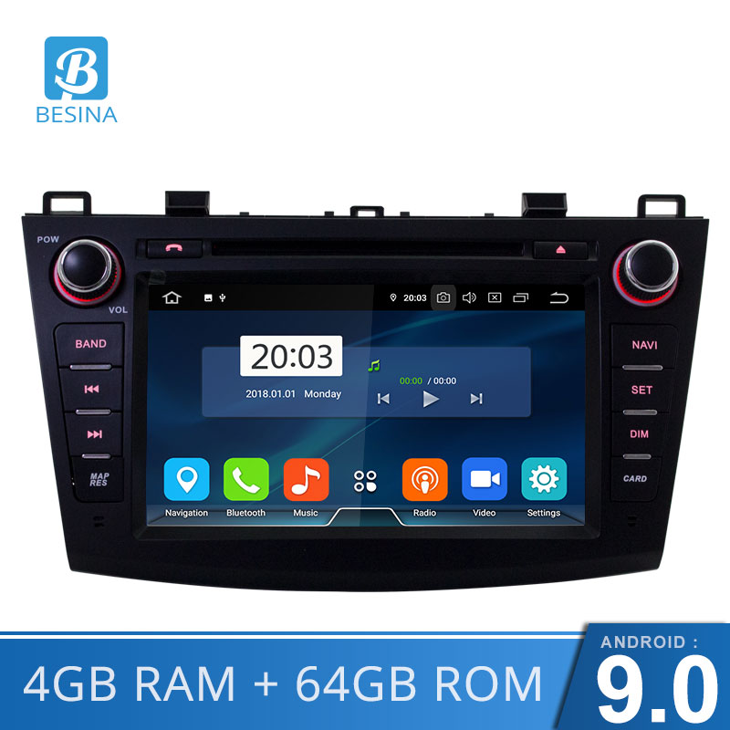 Besina Android 9.0 2 Din <font><b>Car</b></font> <font><b>Radio</b></font> For <font><b>Mazda</b></font> <font><b>3</b></font> <font><b>2010</b></font>-2013 Multimedia GPS Navigation WIFI Octa Cores 4G+64G CD DVD Player Stereo image