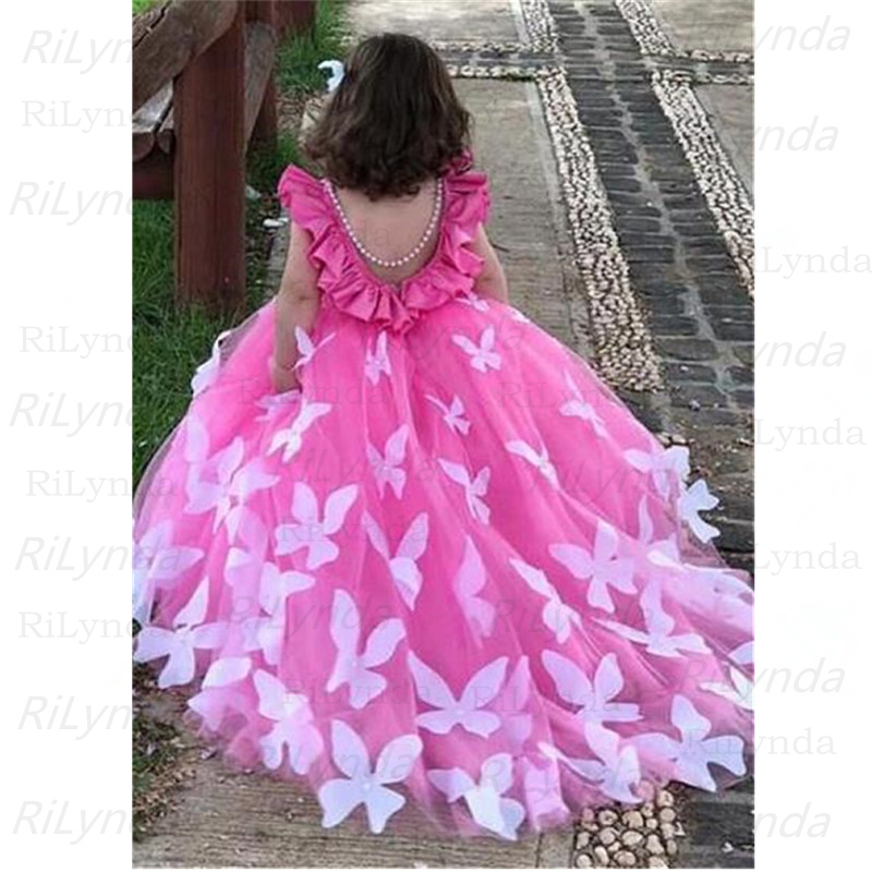 NEW Flower Girls Dresses Fluffy Tulle For Wedding Bow Decal Decoration Applique Sleeveless Girls First Communion Dresses