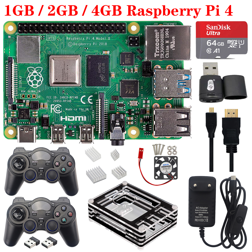 Official Raspberry Pi 4 Model B RAM 1G 2G 4G 2.4G&5G WiFi Bluetooth 5.0 With Power Supply Case For Raspberry Pi 4 Model B 4B