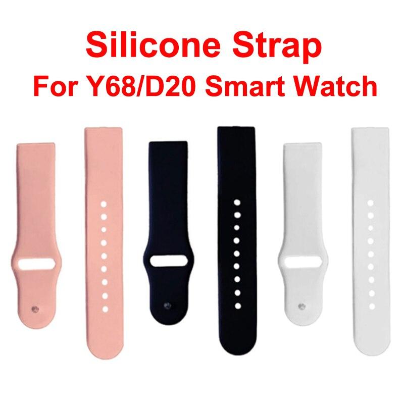 Универсальный силиконовый ремешок для Y68 D20 D28, сменный мягкий ремешок из ТПУ для наручных часов, ремешок для умных часов, черный, розовый, бел...