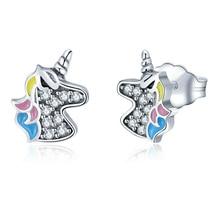 FDLK   Classic Unicorn Silver Plated Alloy ear Stud Fashion Ladies Party Stud Earrings Birthday Gift For girls Women Earrings
