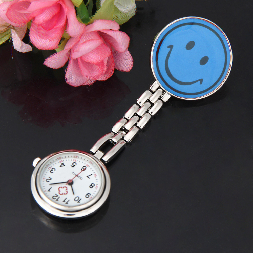 Smiley Nurse Brooch Table Clip-on Fob Brooch Pendant Hanging Smile Face Watch Pocket Watch Reloj De Bolsillo карманные часы