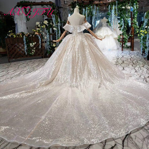 Image 5 - AXJFU Luxury princess champagne lace ruffles boat neck beading crystal star sparkly dubai wedding dress 100% real photo1499/1000