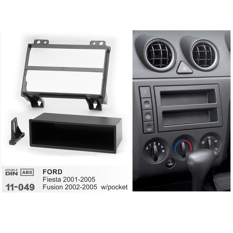 Car Radio Fascia For FORD Fiesta 2001-2005 Fusion 2002-2005 w/pocket Single 1 Din Dash DVD Stereo CD Panel Dash Mount Frame Kit image