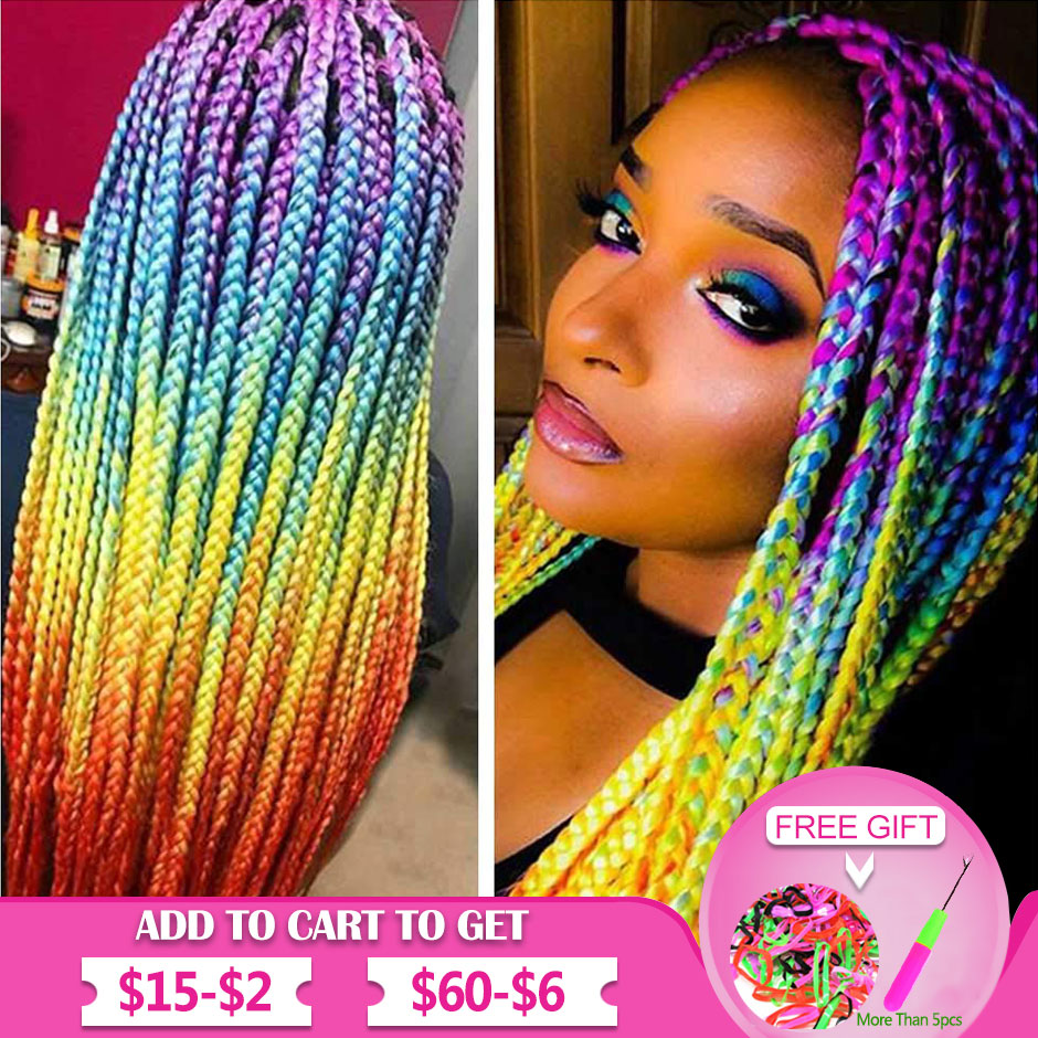 Ombre Colors Braid Kanekalon Hair Synthetic Afro Braiding Hair Extensions 24 Inch For Black Women Twist Crochet Braids In Bulk