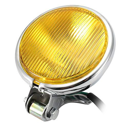 Chrome Motorcycle Headlight Yellow Cafe Racer Head Light Decorative Metal Lights Lighting Modified Motorbike Rear Light