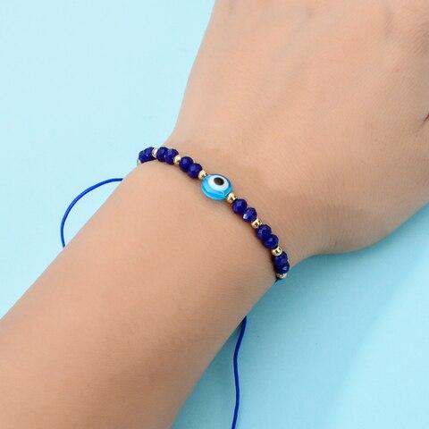 Women Men 12pcs/Sets Blue Turkish Evil Eye Charms Bracelets Crystal Bead Adjustable Rope Chain Yoga Wristband Child Girl Jewelry Multan