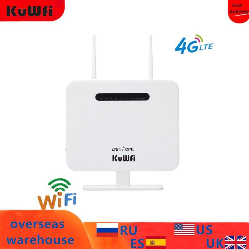KuWFi Unlocked 4G LTE Router 300Mbps Wireless CPE Router&Wireless Modem AP LTE Router With SIM Card Solt 2*5Dbi Antennas
