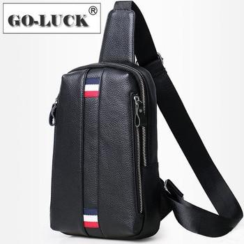 Functional Men Chest Sling Bag Genuine Leather Crossbody Shoulder Bag Outdoor Leisure Travel Hike Ride Sport Organizer