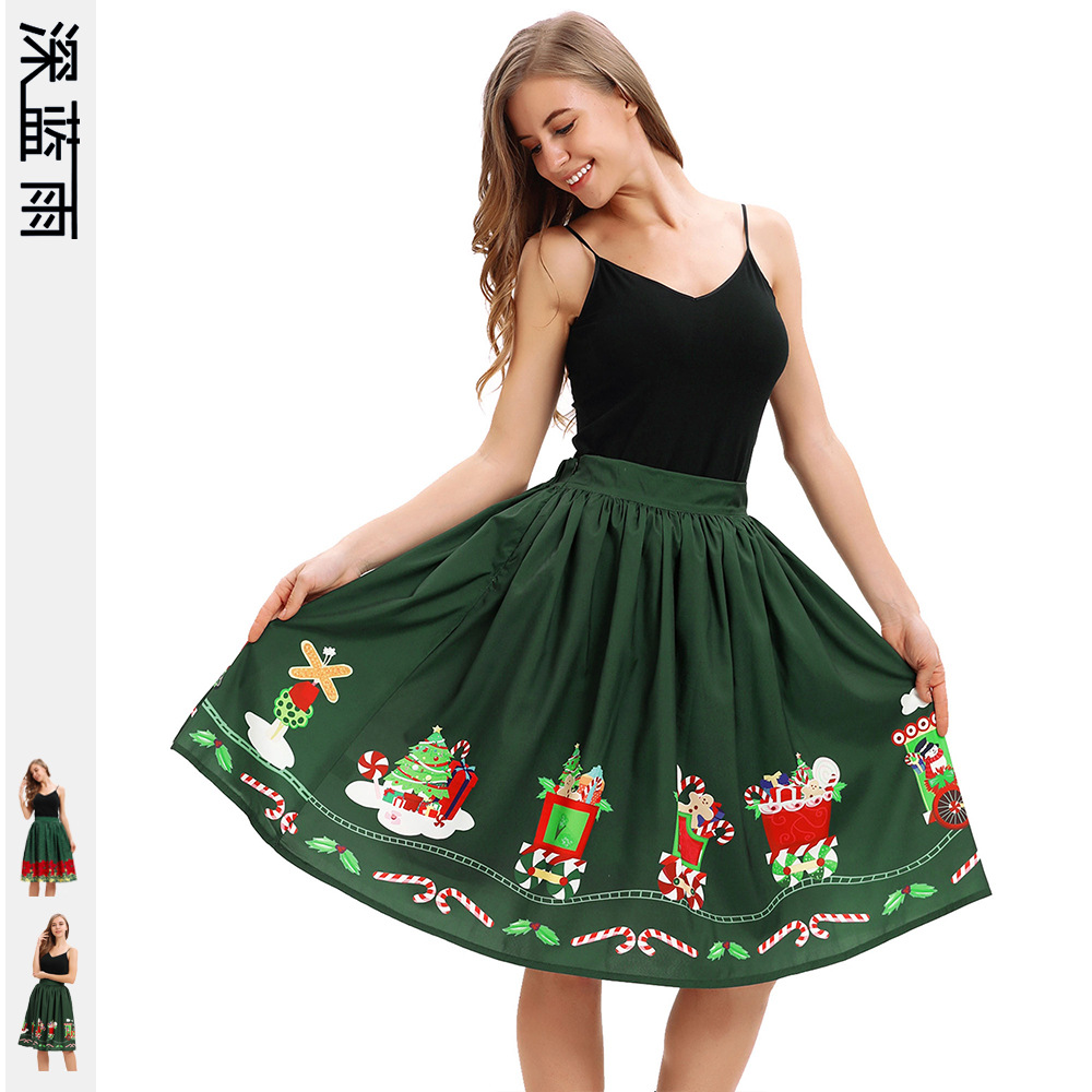 Europe And America Christmas Gift Flower Digital Printing Mid-length Pleated Skirt Street Cool Elastic Skirt