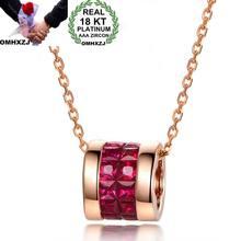 OMHXZJ-collar de oro rosa de 18kt para mujer, colgante, abalorio, moda europea, regalo de boda, fiesta, niña, CA194