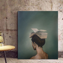 Hot Sale Woman With Books On Her Head Wallpaper Canvas Painting Modern Wall Art