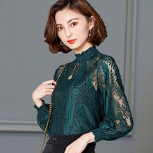 Women Lace Hollow Out Blouse Loose Bottoming Shirt Spring Autumn 2020 Plus Size Splicing Lace Stand Collar Tops Feminine Blusa