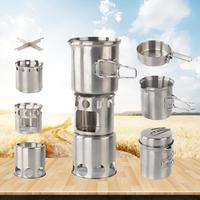 Outdoor Camping Stainless Steel Stove Set Wood Burner Cooking Stove Cross Stand Pot Set