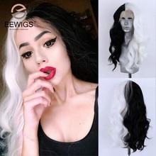 Eewigs peruca longa loira resistente ao calor, peruca sintética frontal com raízes castanhas curtas cosplay ombre para preto mulheres