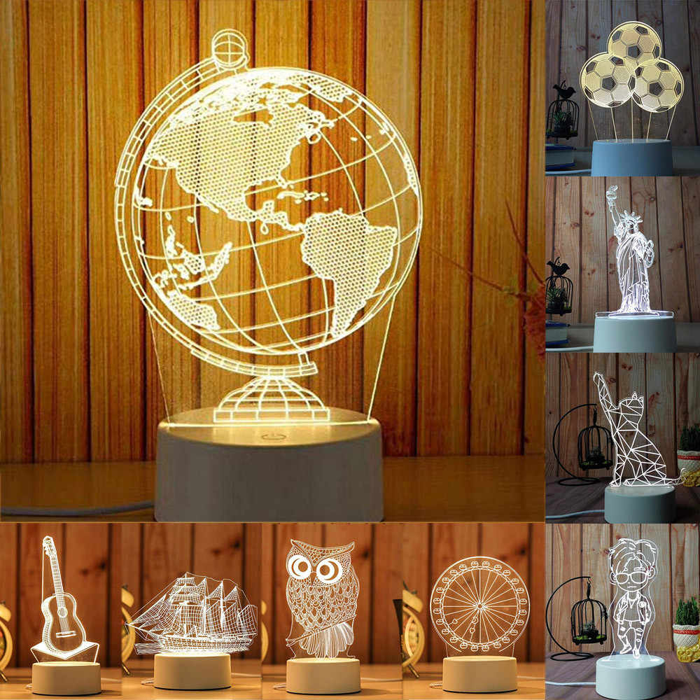 3D USB Acrylic Night Lights Desktop Baubles LED Light Lamps Table Desk Globe Bedroom Office Decor Gift Warm White Lamp Ornament